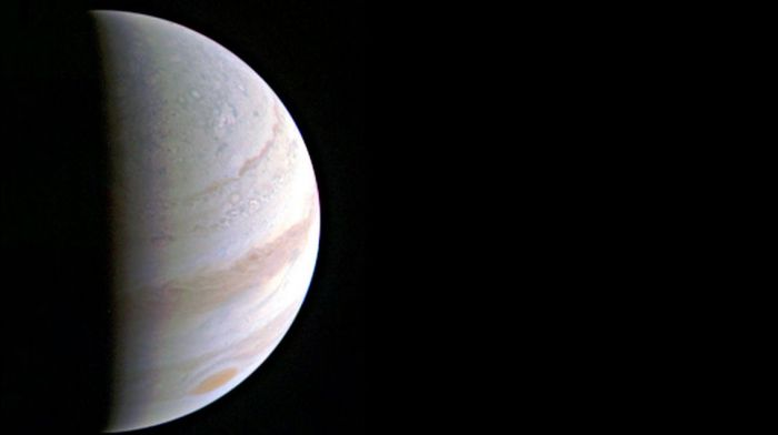 Jupiter's north polar region, August 27th, 2016, as seen by Juno from a distance of 703,000 km (437,000 mph) away