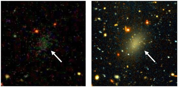 Two views of Dragonfly 44, from the Sloan Digital Sky Survey (l), showing the galaxy as a smudge of stars, and a long exposure from the Gemini telescope (r) revealing it as an elongated oval galaxy - but still unusually faint