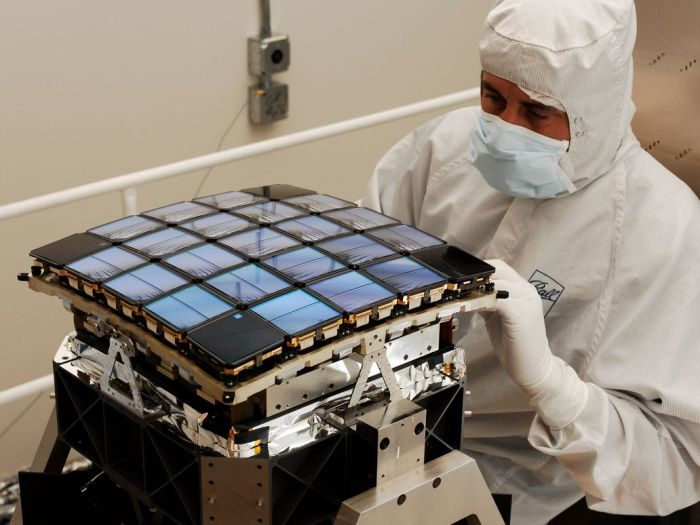 Kepler's focal plane, showing its array of 25 modules, being assembled at Ball Labs prior to Kepler's launch in 2009
