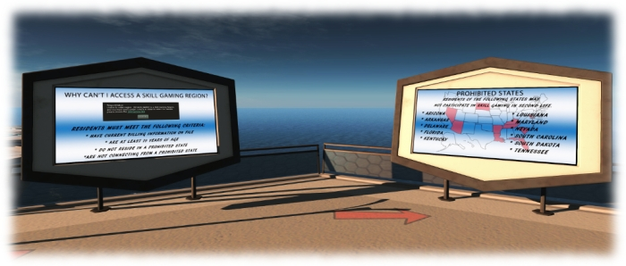 The Learn section of the Gaming Islands provide information on what is required to enter Skill Gaming regions (together with step-by-step instructions on ensuring the criteria is correct), and why, even if the SL criteria are met, some users may still not be allowed to access the regions