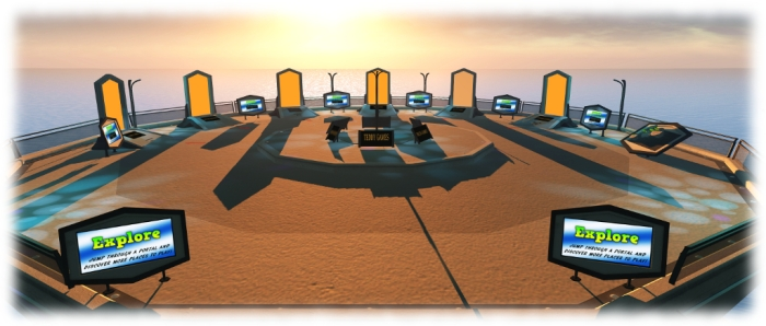 The Explore section of the Gaming Islands, with teleport portals