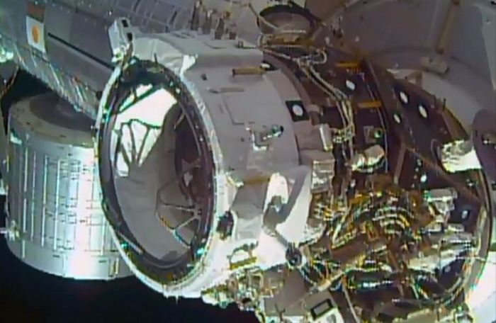 "The International Docking Adatper 1 in position on the International Space Station. It will allow ""space Taxis"" like Boeing's CST100 Starliner and the SpaceX Dragon 2 to safely dock with the space station under their own power"