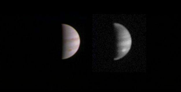 A twin view of Jupiter captured by Juno on August 23rd, when the spacecraft was some 4.4 million km (2.8 million miles) from the gas giant and approaching Jupiter to complete its first full orbit. On the left is a colour image from JunoCam, on the right an infra-red image Credit: NASA/JPL-Caltech/SwRI/MSSS