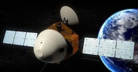 Conceptual view of the Chinese Mar orbiter, with the white aeroshell enclosing the lander / rover combination. Credit: SASTIND / Xinhua