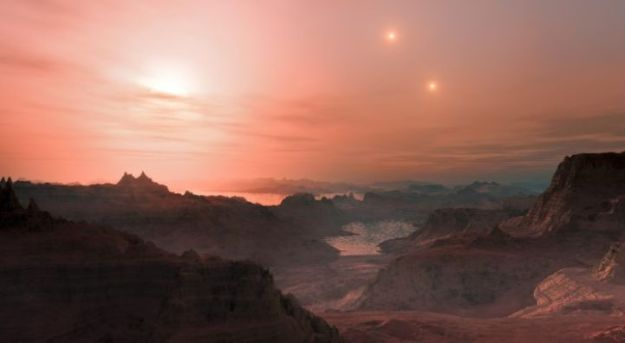 Sunset on an alien world: an artist's impression of sunset on an Earth-like planet orbits our nearest stellar neighbour, Proxima Centauri (seen closest, left), with Alpha Centauri A and B shining in the distance - story below