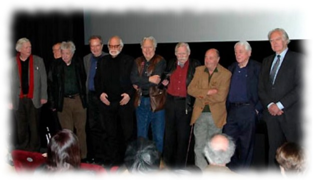 The fathers of German New Cinema, post WW2 (l-to-r): Christian Doermer. Dieter Lemmel, Bernhard Dörries, Edgar Reitz, Rob Houwer, Hans Jürgen Pohland, Wolfganf Urchs, Roland Martini, Alexander Kluge and Hilmar Hoffmann, director of the International Short Film Festival Oberhausen (1954-1970)