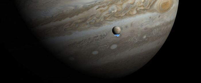 An artist's impression of what the 2012 water plume might have looked like if seen from the vicinity of Europa. Credit: NASA / ESA / M. Kornmesser.