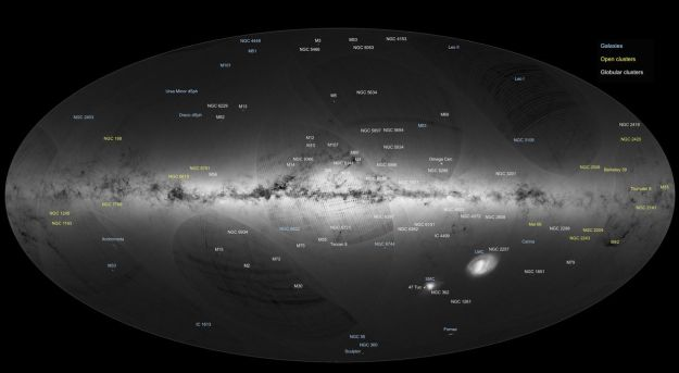 The Gaia map includes globular clusters without our own galaxy, and images of clusters and galaxies beyond our own. Credit: