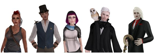 "Petrol Sue, Jasper, Leah, Emrys and Dmitri - five of the new ""fantasy"" starter avatars"