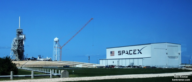 Launch Complex 39A at Kennedy Space Centre undergoing refurbishment by SpaceX in preparation for Falcon Heavy and crewed Falcon 9 launches. The Rotatating Service Structure, seen on the left and used for space shuttle launches, is due for demolition