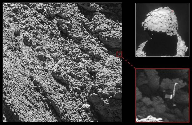 Philae found: an images of Comet 67P/C-G's surface captured by the orbiting Rosetta vehicle reveals the lander caught in a cleft, as indicated by the inset enhancement. Credit: ESA / Rosetta NavCam – CC BY-SA IGO 3.0