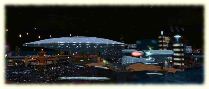 A Galaxy class starship cruises by Trek For a Cure