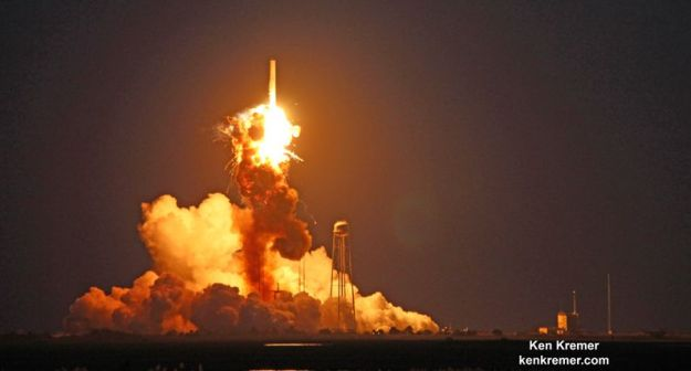 October 28th, 2014 and the moment the Antares rocket exploded, as captured on film by Ken Kremer