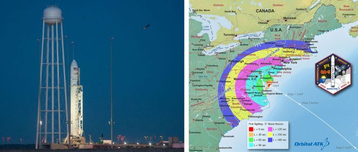 The Orbtial ATK Anatares booster ready for mission OA-5 at NASA's Wallops Island facility, Virginia, and a map showing the arc in which the launch and ascent might be visible (click to enlarge). Credits: photo - Credit: NASA/Bill Ingalls; map - Orbital ATK