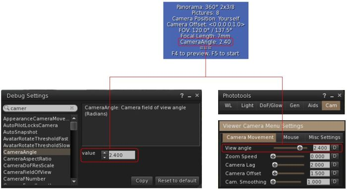 Setting the camera angle via debug or Phototools (if you use a TPV other than Firestorm, you may be able to use any shortcut to camera options that viewer provides to set the required value)