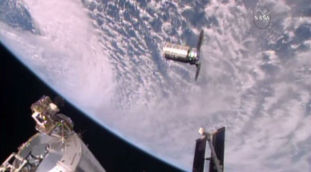 The Cygnus resupply vehicle, filmed from the ISS on October 23rd, 2016, prior to being captured by the station's robot arm