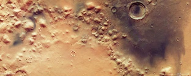 Colles Nili, a region marking the boundary between the southern highlands of Mars and the lower northern hemisphere, as imaged by Mars Express in 2016. Credit: ESA/DLR/FU Berlin