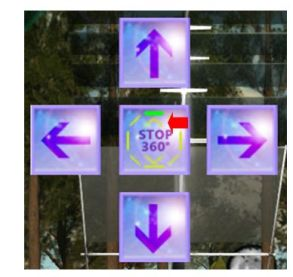 The Pro version of the camera produces 24 shots using the left / right keys (+ CTRL-' for image capture), the chevrons denoting the progress through upper / lower sets of 8 images apiece. The up and down buttons position the camera for taking sky / ground shots respectively, which can be used to create spherical views