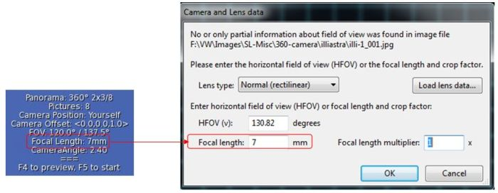 Setting your focal length in Hugin