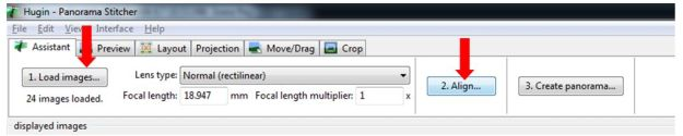 Loading and aligning your images in Hugin