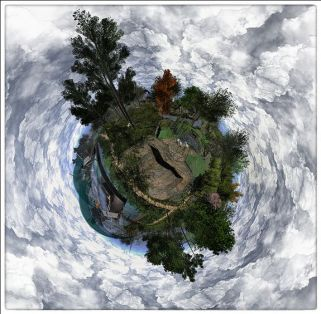 A little planet image produced by Whirly Fizzle using Camera Panormic. Click to see full version, then left-click on it to scroll around