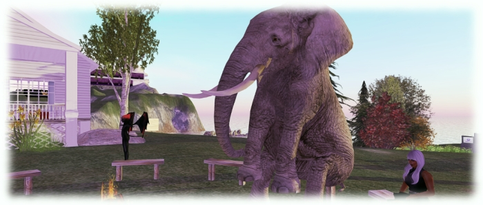 Medhue Simoni takes the weight off his elephant's feet at a public Bento User Group meeting on the Main grid