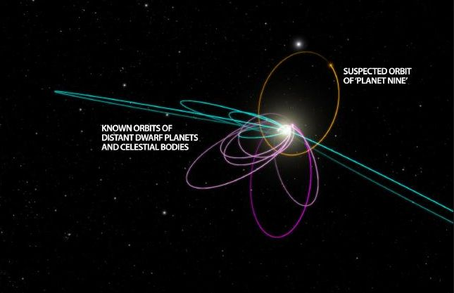 The Brown / Batygin model for Planet Nine indicated the planet would cause some TNOs to ine in orbits perpendicular to the planet's own eccentric orbit around the Sun - and five such object have now been discovered (shown in teal, with the original TNOs possibly influenced shown in magenta. Credit: Caltech