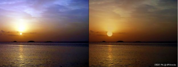 A comparison of sunsets on Earth (l) and simulated on a watery Proxima-b, 4.25 light years away (r). While the parent star, Proxima Centauri, is a lot smaller than our Sun, it would appear much larger in the planet's sky due to the planet being a mere 7 million km from the star