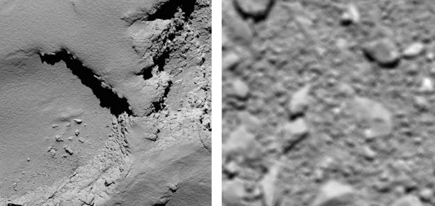 The first and last in the final sequence: on the left, the Ma'at region on the comet's small lobe from a height of 5.8 km (3.6 mi) revealing a terrain heavy in dust as Rosetta enters the terminal phase of descent on Friday, September 30th. Right: the very last picture returned by the spacecraft, taken from a height of around 20m (66ft) depicting an area just 2.4m (8ft) across close to where Rosetta camera to rest. Credit: ESA/Rosetta/MPS for OSIRIS Team MPS/UPD/LAM/IAA/SSO/INTA/UPM/DASP/IDA.
