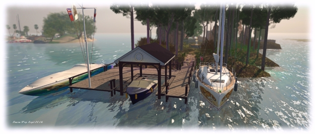 The Domineaux Effect Cottage Dock provides moorings for up to three boats - if you don't mind jumping over the dock's handrails to get to one of them! Note the flag pole is not a part of the dock