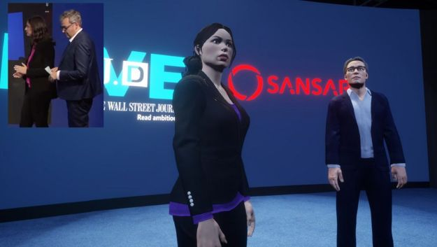 Joanna Stern and Geoffrey Fowler (seen in the inset image) and as they appear as Sansar avatars. Credits: Geoffrey R. Fowler / WSJ Live