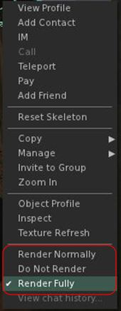 Setting an individual avatar's rendering in your view