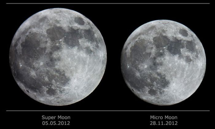 How the Moon can appear to differ i size at apogee (the point furthest from Earth in its orbit) and perigee (the point in its orbit closest to Earth). Credit: Catalin Paduraru