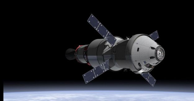 The Revision Orion MPCV with its European Service Module, attached to a propulsion stage in Earth orbit. Credit: NASA
