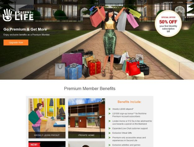 The new Second Life Premium landing page, highlighting the current Premium subscription offer, and launched on October 31sst, 2016