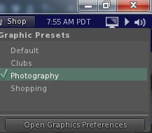 The quickest way to load a preset is via the Graphics Preset icon, which also allows you to open Preferences > Graphics