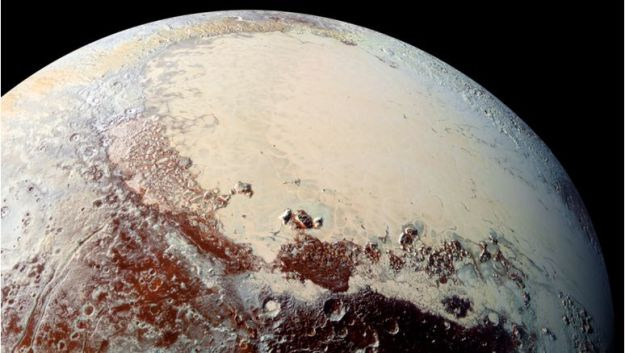 """Sputnik Planum"" (the left lobe of Pluto's ""heart"") is believed to be a ""positive mass anomaly"" which has contributed to the planet's axial tilt, and to the planet's developing weather systems and look, to the point where today, the weather is as much accountable for the planet's looks and position in space and any other factor influencing it. Credit: James Keane"