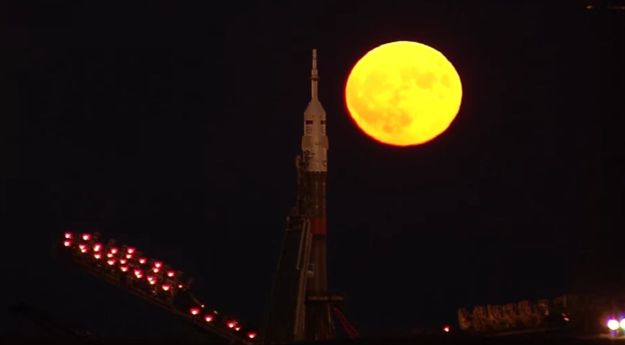 "The ""supermoon"" of November 14th rises over the MS-03 spacecraft the Baikonur Cosmodrome in Kazakhstan, where it was being prepared for launch to the International Space Station"