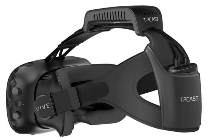 The TPCAST wireless kit mounted on an HTC Vive