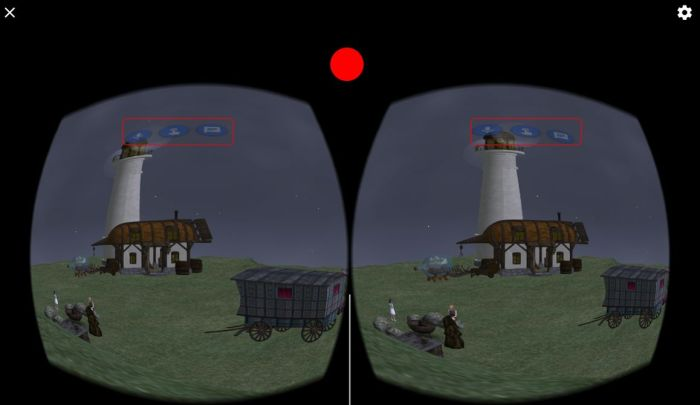 Lumiya in VR stereoscopic mode. When using a Cardboard or similar device, staring at the on-screen buttons and pressing the flap / button on the device should activate the required function. Or if you're not using a device, you can try staring at a button and touching the screen where indicated (approximately) by the red circle. Pressing this point (or the flap / button on a device) will allow you to walk in the direction to are looking