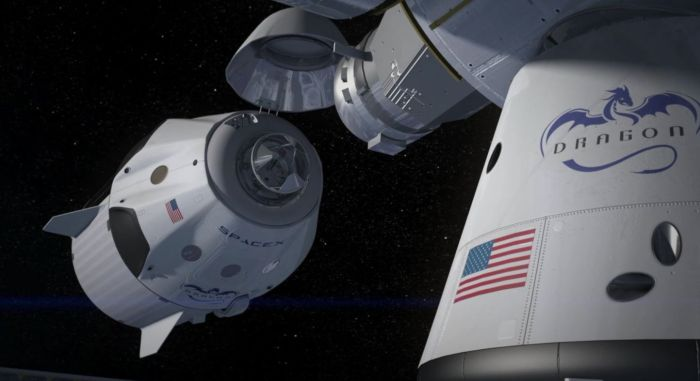 A crewed Dragon V2 vehicle approached the multiple docking adapter it the ISS, in this artist's impression. In the foreground, another Dragon vehicle is already docked with the space station. Credit: SpaceX