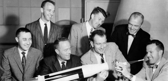 The Mercury 7 - NASA's first astronauts. Standing (l-r): Alan B. Shephard Jr. (1st US astronaut to fly in space); Walter B. Schirra Jr; John Glenn (first US astronaut to orbit the Earth). Seated (l-r): Virgil I Grissom (2nd US astronaut in space); M. Scott Carpenter; Donald Slayton and L. Gordon Cooper Jr. Credit: NASA