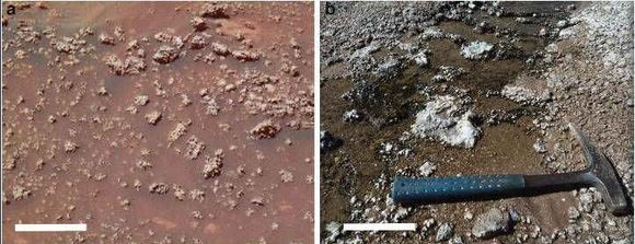 "An image of ""Home Plate"" showing a mass of opaline silica nodules, captured by NASA's Spirit rover in 2006, and a photograph showing similar formations at El Tatio, Chile Credit: ASU/Ruff & Farmer"