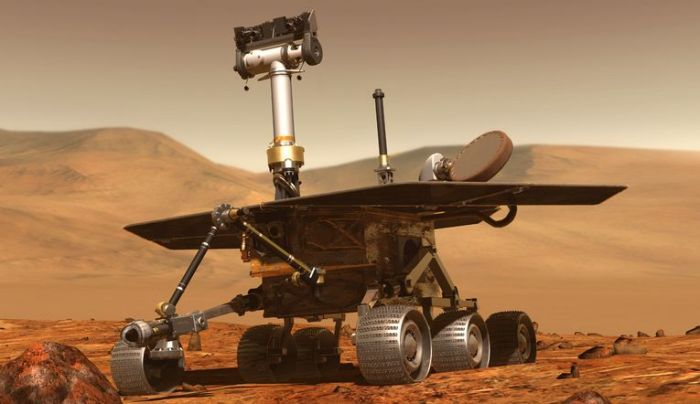 NASA's MER rover, Spirit (MER-A) and Opportunity (MER-B) arrived on Mars in January 2004, and Opportunity continues to explore the planet today. Credit: NASA / JPL