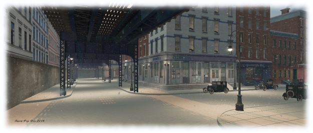 1920s New York Project: under the elevated railway track running over Coenties Slip