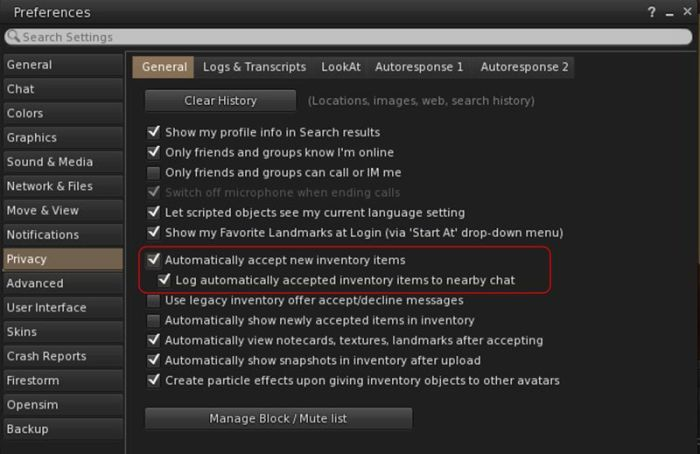 New option to log auto-accepted inventory to nearby chat when Automatically Accept New Inventory Items is enabled