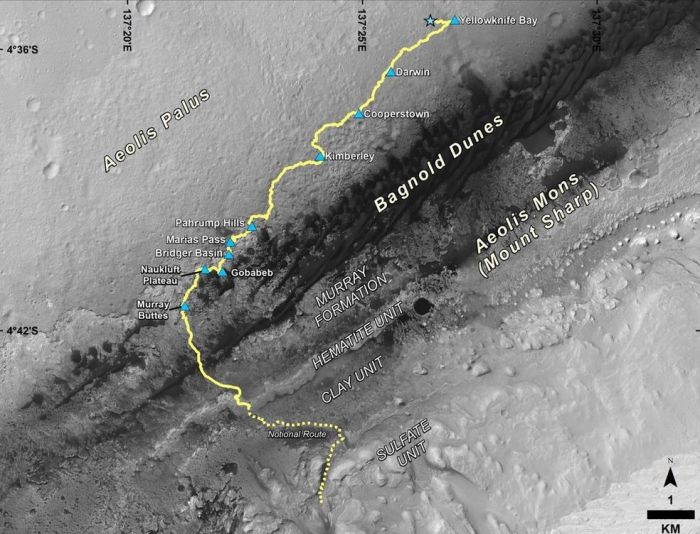 "Curiosity's 4-year, 10 kilometre (6.2 mi) Trek from its landing sight (the blue star), through the Yellowknife Ridge area, keep to early findings by the rover, then down along the foothills of ""Mount Sharp"" to the climb up the mound's lower slopes. The blue triangles denote way-points on the route, where science work was carried out"