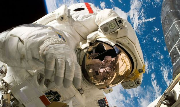 Sellers on EVA during STS-121, his second flight into orbit,