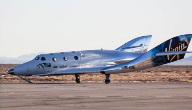 VSS Unity comes to rest on the runway after a successful first first flight test. Credit: Virgin Galactic