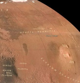 Utopia Planitia: home of a massive water ice deposit the size of New Mexico, and sitting just below the surface of Mars